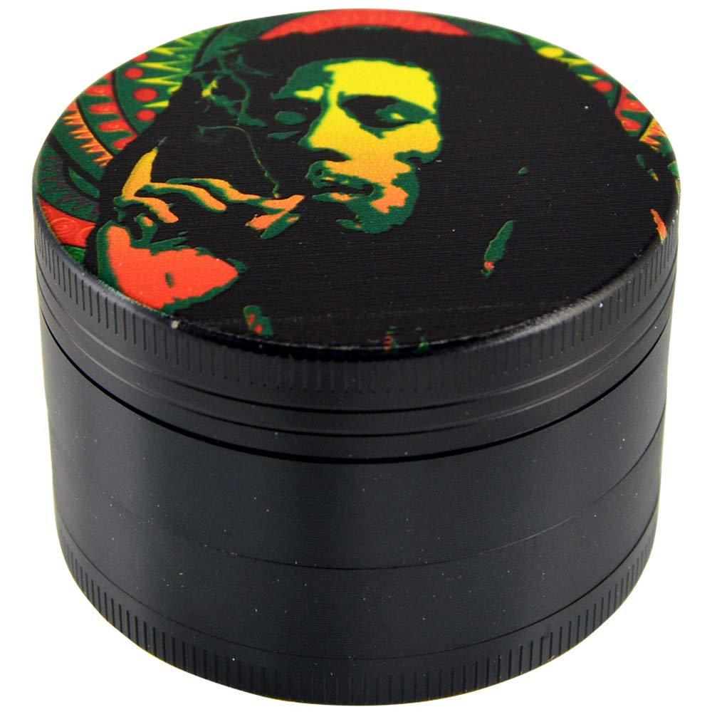 Tobacco Grinder Kitchen Smokers Tool Mandala 4-Piece Metal Herb /& Spice