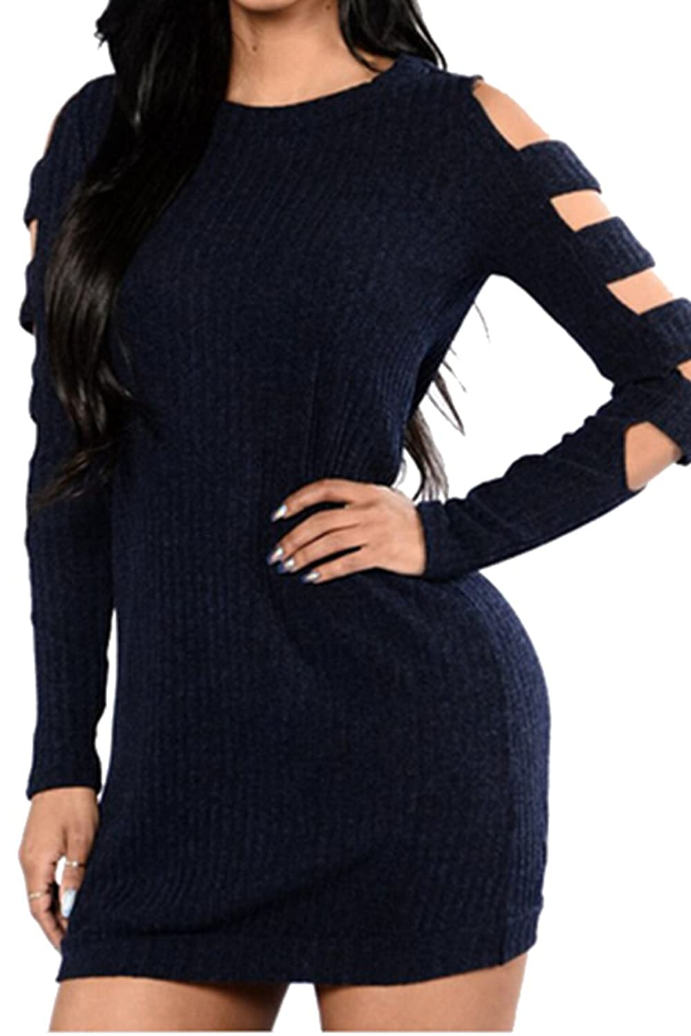 Meenew Women's Long Sleeve Hollow Out Bodycon Midi Cable Knit Sweater Dress