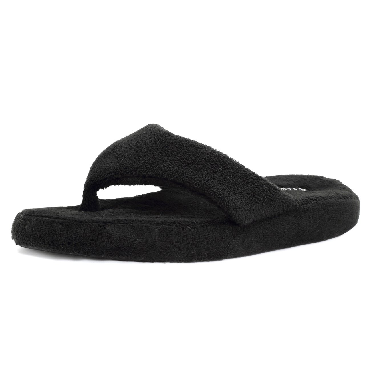 EQUICK Women Flip Flops Terry House Slippers Spa Thong Shoes Arch Support,U218WMT003,Black,38.39