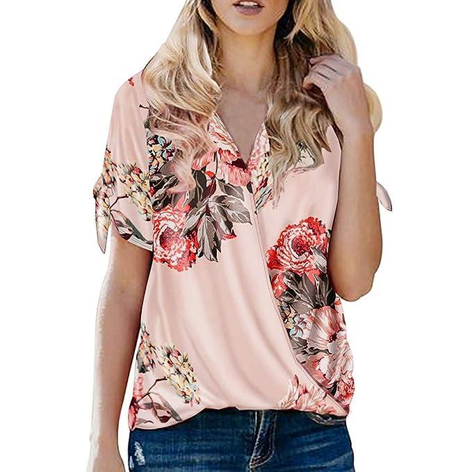 VEMOW Blusas Mujer Camisetas Tops Botón de Manga Corta para Mujer ...