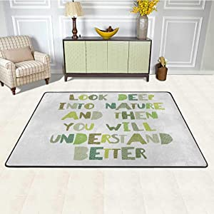 Quote Carpets for Living Room 5' x 7', Look Deep into Nature HD Printed Rug, and Then You Will Understand Everything Better Leaf Cut Letters