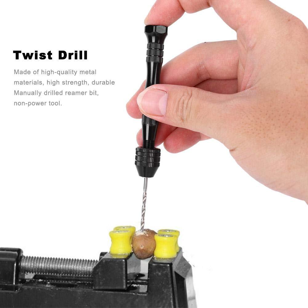 para la fabricaci/ón de modelos aleaci/ón perforada de aluminio de 0.8-3 mm Mini herramienta perforada de perforaci/ón rotativa manual Juego de taladro helicoidal manual 20 brocas