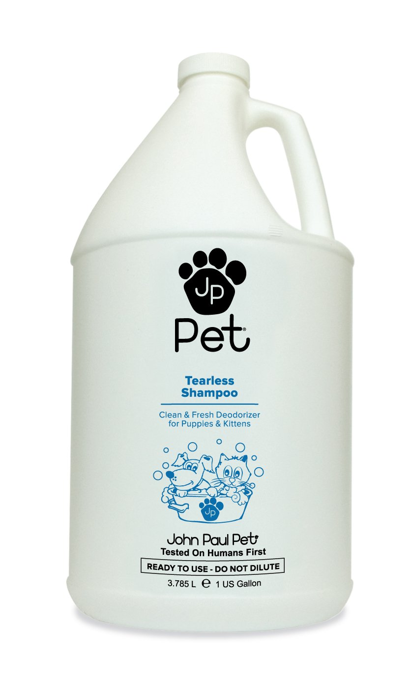John Paul Pet Tearless Odor Absorbing Shampoo, Clean and Fresh Low PH Formula for Puppies, Dogs, Kittens and Cats, 1-Gallon
