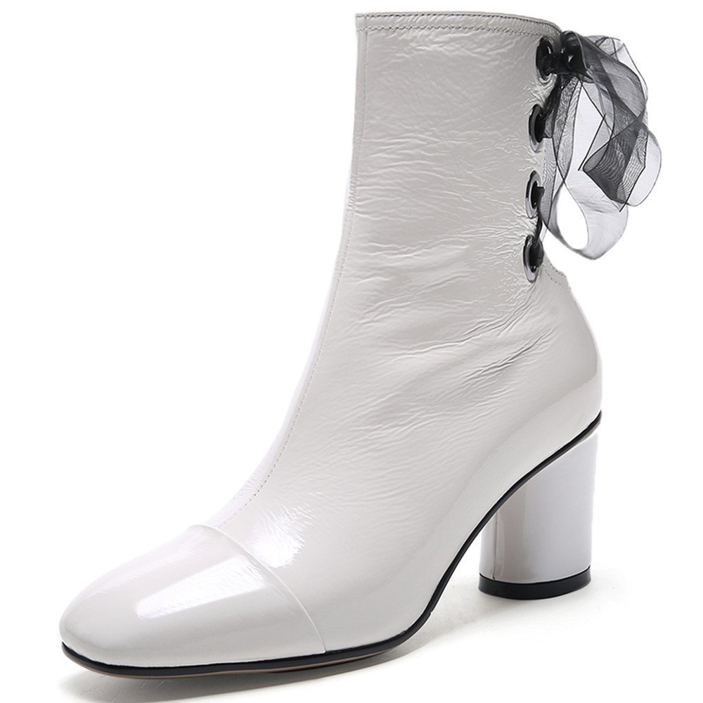 Nine Seven Patent Leather Women's Square Toe Chunky Heel Lace up Mid Calf Handmade Dress Boots B0746YYFTW 6 B(M) US|White
