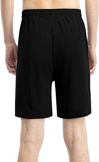 Yangiug Men Casual Solid Elastic Waist Loose Pajama Short Pants Sleep Bottoms