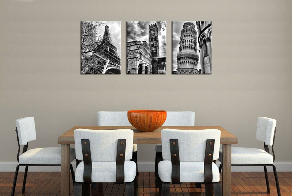 Eiffel Tower Leaning Tower of Pisa Italy 12 x 16 x 3 Pieces Wall Art Famous Architecture Canvas Picture Framed Ready to Hang Modern Building Canvas Prints Artwork for Home Office Decoration