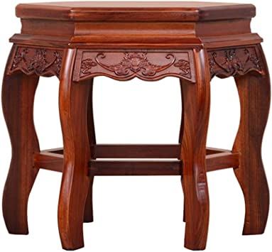 Amazon.com: ZHAOYONGLI-stools Seats Footstools Solid Wood Coffee Table Living Room Hexagon Wooden Sofa Shoe Bench Chinese Leisure Square Stool: Furniture & Decor