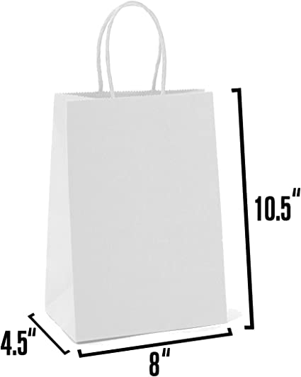 Ideal for Shopping,... White Kraft Paper Gift Bags Bulk with Handles 100Pc