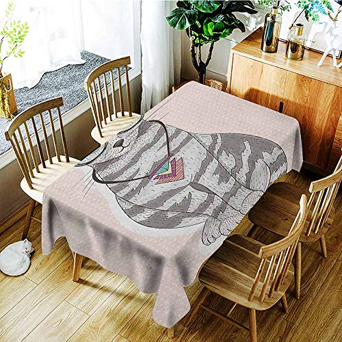 (XXANS Elastic Tablecloth Rectangular,Teen Room,Stylish Kitty Cat with Glasses Tribal Necklace Clasp Fashion Design Print,Party Decorations Table Cover Cloth,W60x120L Pale Pink Grey )