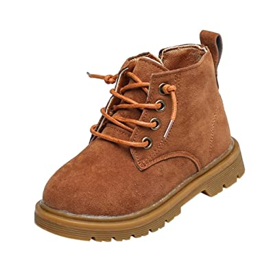 Children Kids Baby Lace Up Suede Hard Sole Martin Sneaker Boots Winter Casual Snow Boots Clode/® for 2-12 Years Old