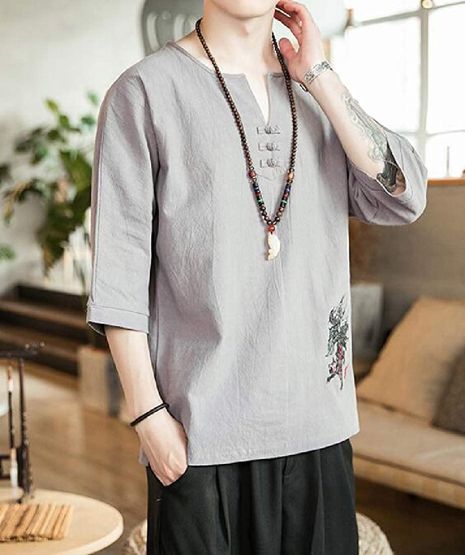 Jotebriyo Mens Classic Embroidery Chinese Style Linen Short Sleeve Tee Top T-Shirts