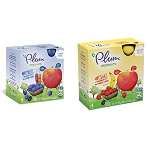 Plum Organics Mashups, Organic Kids Applesauce, Blueberry & Carrot, 3.17 Ounce Pouch, 4 Count (Pack of 6) & Mashups, Organic Kids Applesauce, Strawberry & Banana, 3.17 Ounce, 4 Count (Pack of 6)