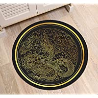 Gold Asian Dragon Round Oriental Area Rug by LB, Traditional Chinese Cultural Design Indoor Decor Rug Mat Carpet for Living Room Bedroom Kitchen Study, 27 diameter