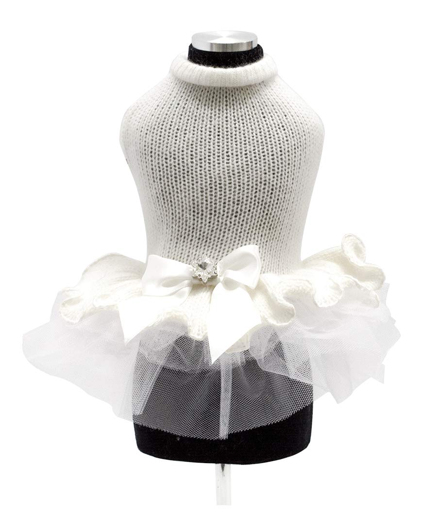 Trilly tutti Brilli Clea Dress In Wool and Tulle with Bow In Satin and Swarovski, Small, White