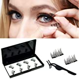 8pcs No Glue Dual Magnetic Eyelashes 0.2mm Ultra Thin Magnet Lightweight & Easy to Wear Best 3D Reusable Lashes Extensions (B