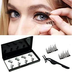 Viceting No Glue Dual Magnetic Eyelashes Lightweight & Easy to Wear Best 3D Reusable Magnet Lashes Extensions with Tweezers (2 pairs)