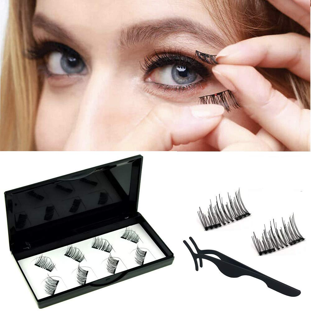 fb3d82ecac Amazon.com : Viceting No Glue Dual Magnetic Eyelashes Lightweight & Easy to  Wear Best 3D Reusable Magnet Lashes Extensions with Tweezers (2 pairs) :  Beauty