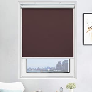 Acholo Blackout Roller Shades Cordless Window Blinds (Brown, 23 x 72 Inch) and Room Darkening Shades for Home & Windows