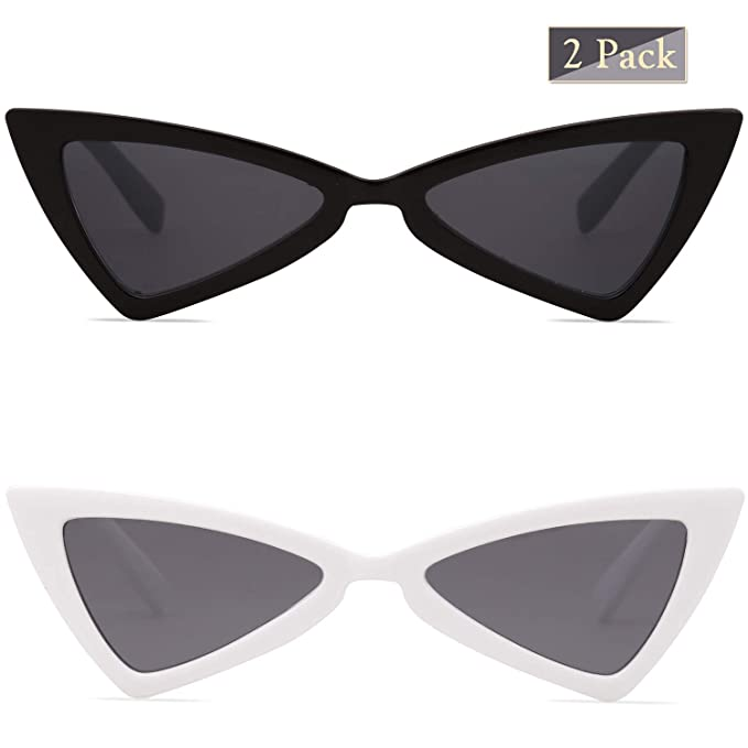 29972820116 SOJOS Retro Small Women Cat Eye Sunglasses Triangle Bowknot Frame SJ2051  with 2 pack of Black