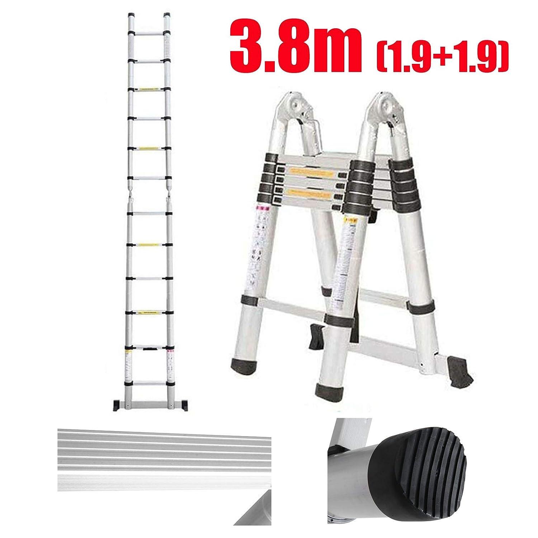 5m 2,5m+2,5 m Teleskopleiter Klappleiter Stehleiter Mehrzweckleiter aus hochwertigem Aluminium Ausziehbare Leiter Sicherheitsverriegelung Anti-Rutsch 150 kg//330 Pfund Belastbarkeit