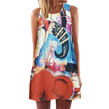 2e14fc4d7 HULKY 3D Floral Print Women's Dress,Sale Bohemia Vintage Sleeveless  Summer Beach Party