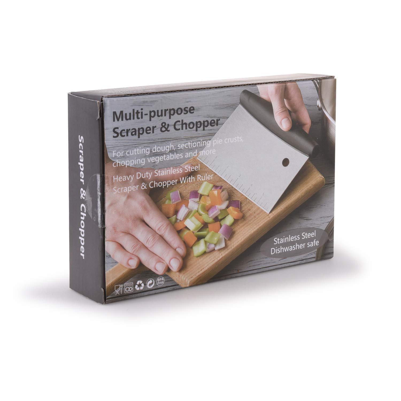 MollyZillah Stainless Steel Pastry Scraper Pizza Scraper Chopper Great as Dough Cutter Dough Scraper