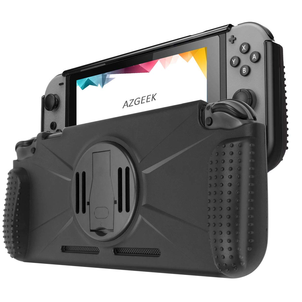AZGEEK Protective Case Compatible for Nintendo switch, Carrying and Portable Cover with Shock Absorbing and Scratch Resistant Design (Black)