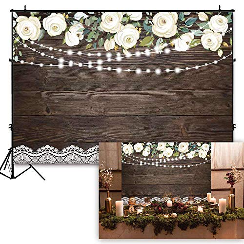 Funnytree Soft Fabric 7X5ft Brown Wood White Flowers