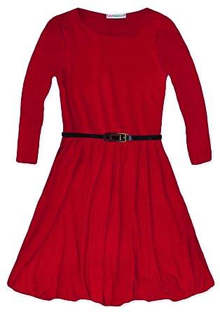 JollyRascals Girls Long Sleeved Skater Dress Kids New Plain Party Flared  Dresses Black Red Royal Blue 45bc12d69