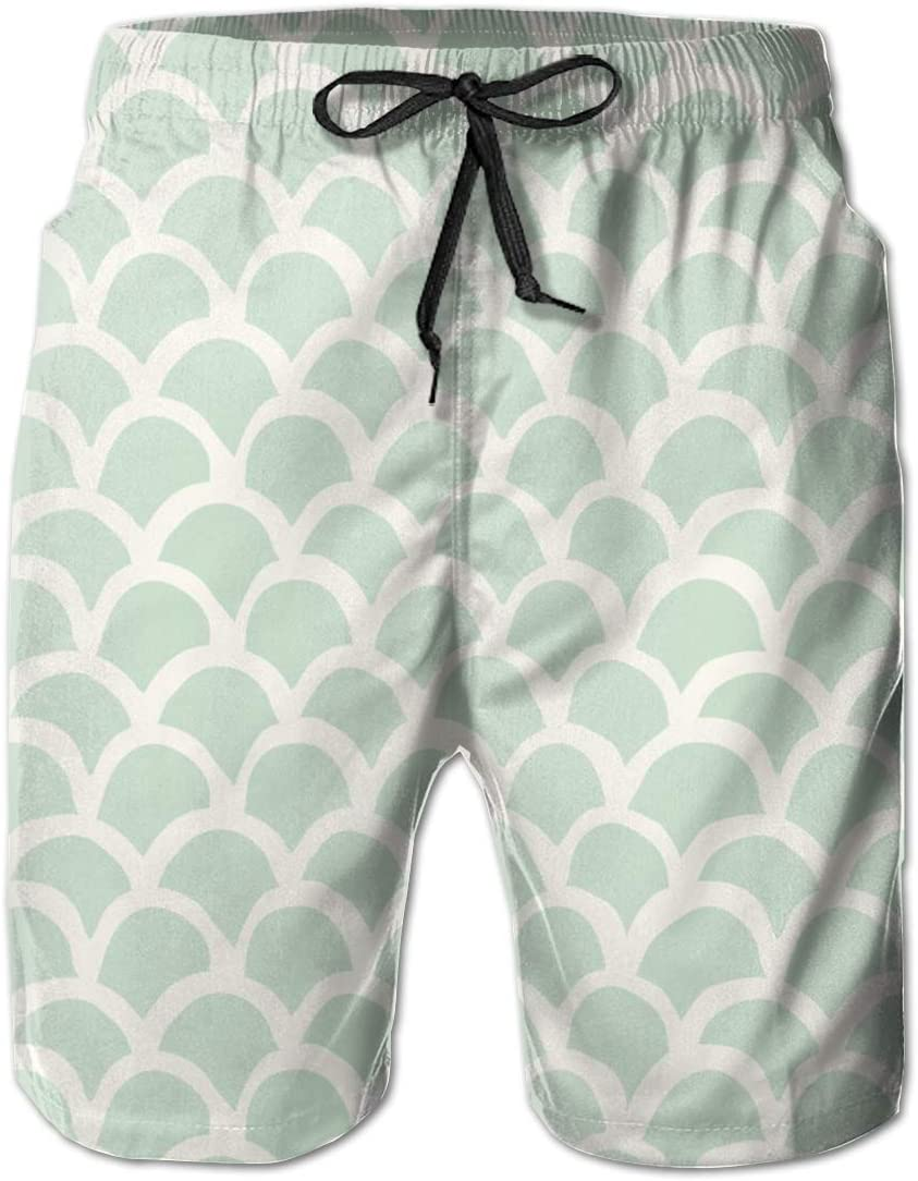 Mermaid Scale Funny Summer Quick-Drying Swim Trunks Beach Shorts Cargo Shorts
