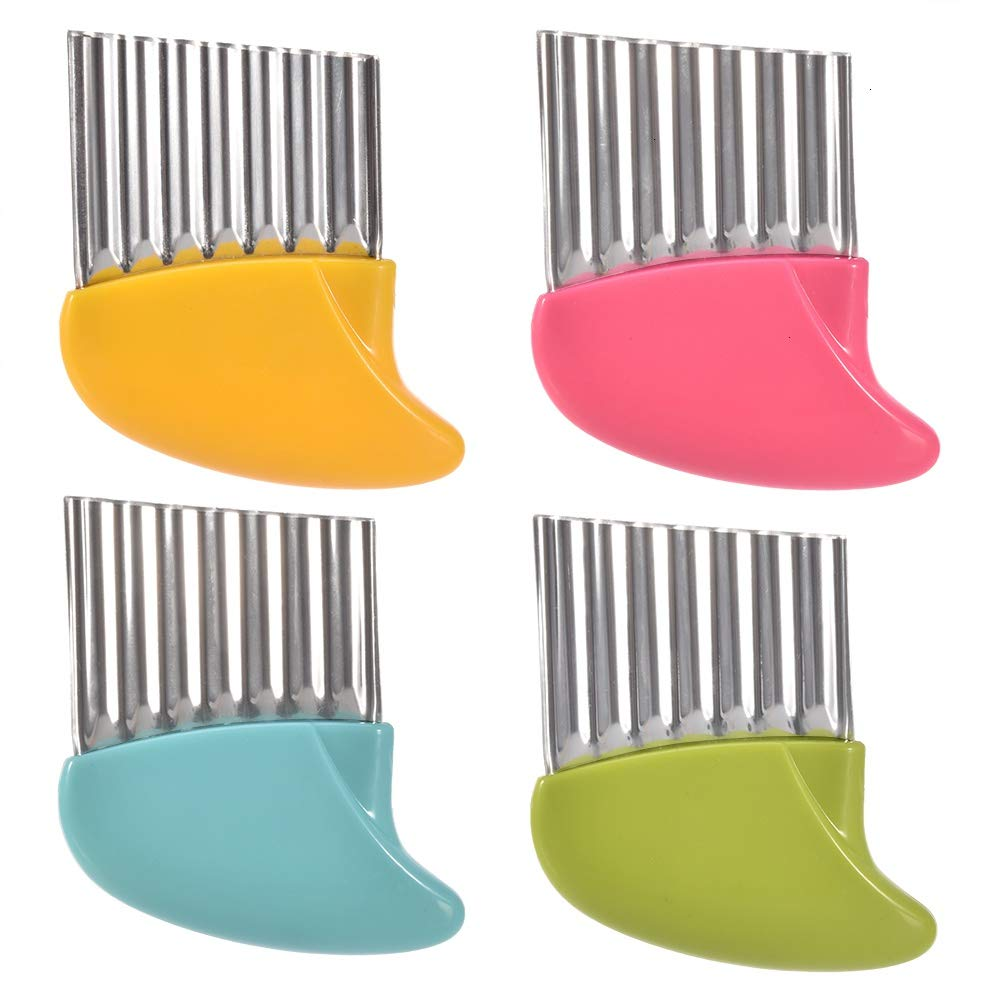 Crinkle Cutter, 4 Pack Potato French Fry Cutter Vegetable and Fruit Wavy Chopper Knife Onion Cutter Slicer Kitchen Salad Gadget Tool Assorted 4 Colors by Feeko