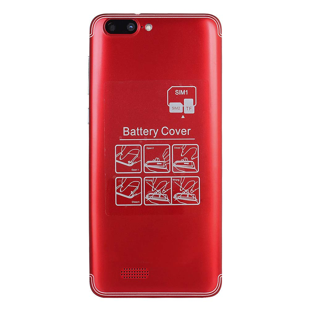 Gallity 5.0'' Ultrathin Cellphone Android 5.1 Quad-Core 512MB+4GB GSM 3G WiFi Dual SIM Dual Camera Smart Phone (Red)
