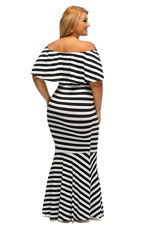 73a299cb03 Gloria Sarah Women s Off The Shoulder Mermaid Striped Ruffle Tube Plus Size  Maxi Dress