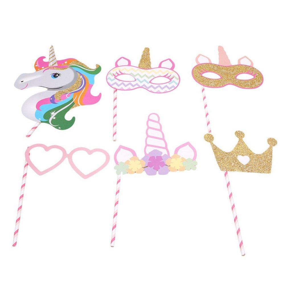Rrunzfon Unicornio Photo Booth Props Feliz Cumpleaños DIY Accesorios Photocall Máscaras Gafas en Palos Niños Niñas Decoraciones de Fiestas