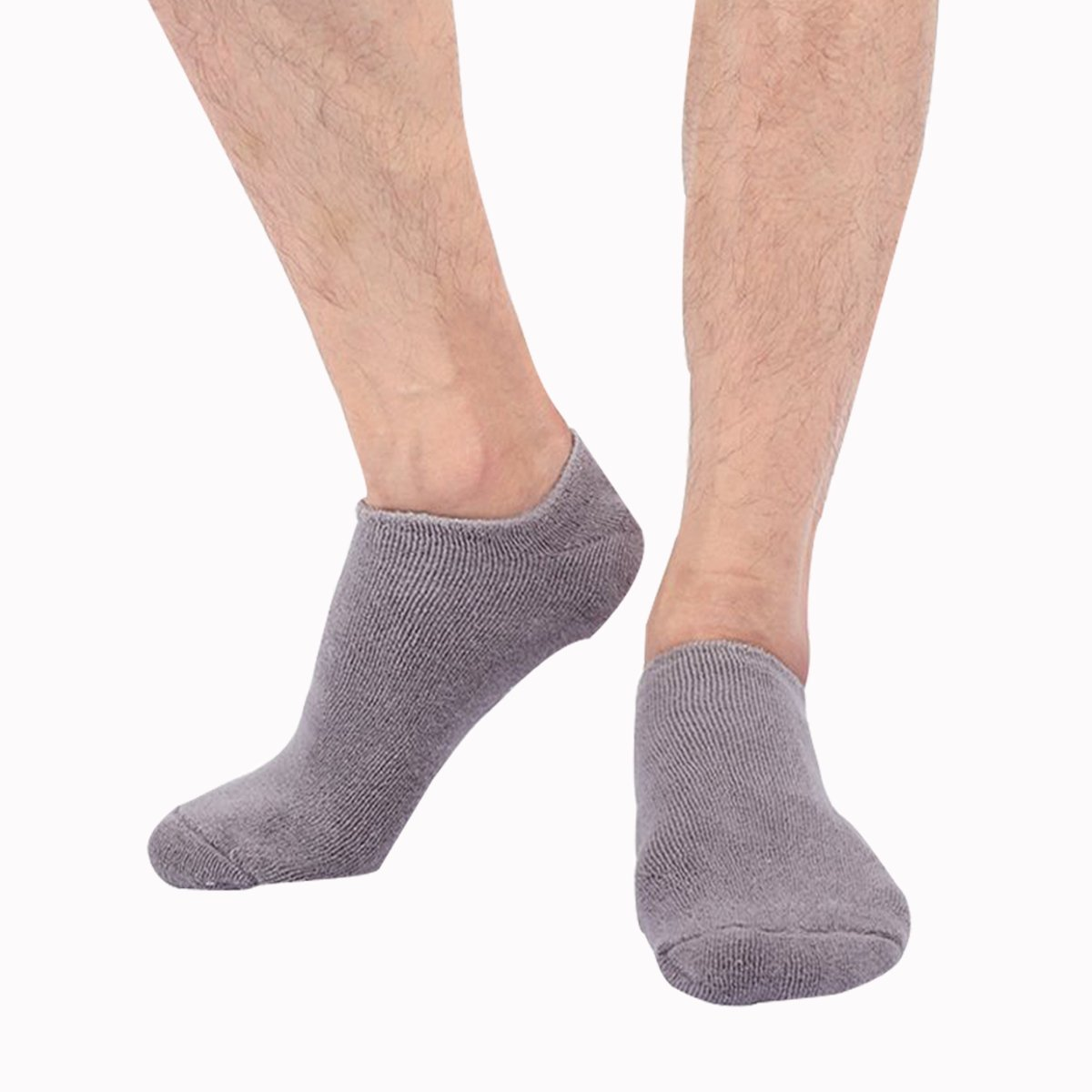 EXPER Moisturizing Gel Spa Socks for Men's Large Feet Size 10-12 Dry Hard Broken Rough Skin Cracked Heel Silicone Humectant Moisturizer Heel Socks (Grey)