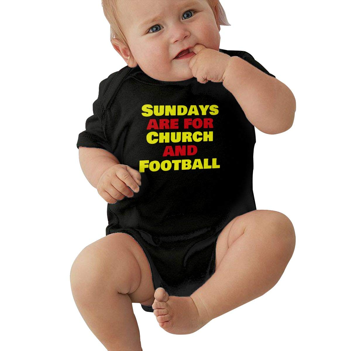 Sundays are for Church and Football Infant Baby Girl Boy Romper Jumpsuit Short Sleeve Bodysuit Tops Clothes
