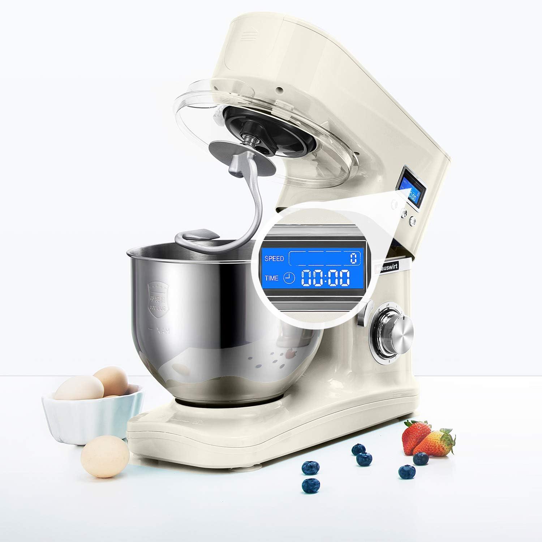 Bol en Inox 5L Robot P/étrin Multifonction P/étrisseur Professionnel Robot de Cuisine avec Fouet HB2 8 Vitesses avec Fonction Pulse Batteur et Crochet Robot P/âtissier