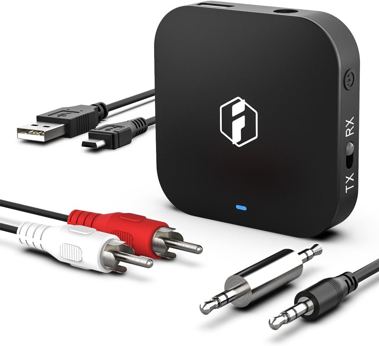 Inateck Transmisor/Receptor Bluetooth 2 en 1 inalámbrico para Audio aptX HD, aptX a Baja latencia, Low Latency, Hi-Fi para TV, Auriculares y Sistemas Audio Coche, autoradio (BR1008)