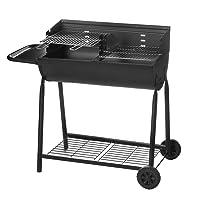 Grillstation XL schwarz Basis Garten Balkon ✔ Rollen ✔ Seitentisch links ✔ eckig ✔ rollbar ✔ stehend grillen ✔ Grillen mit Holzkohle ✔ mit Station ✔ mit Rädern