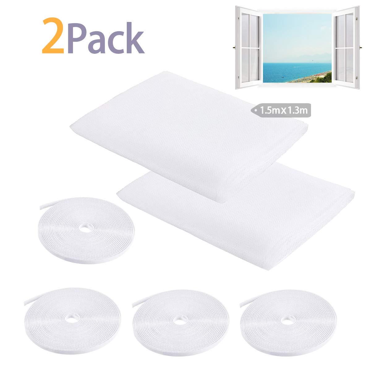 2 paquetes de 4 rollos de cinta adhesiva para mosquitos Kit de mosquitera autoadhesiva para ventana 1,5 m x 1,3 m malla de insectos color blanco