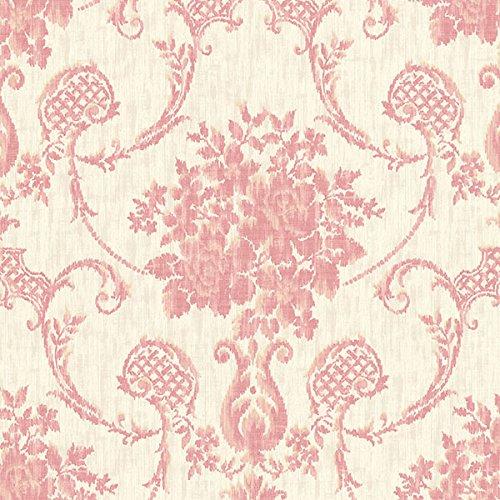 Beacon House 2614-21027 Marais Ikat Damask Wallpaper, Pink (Damask Wallpaper Pink)