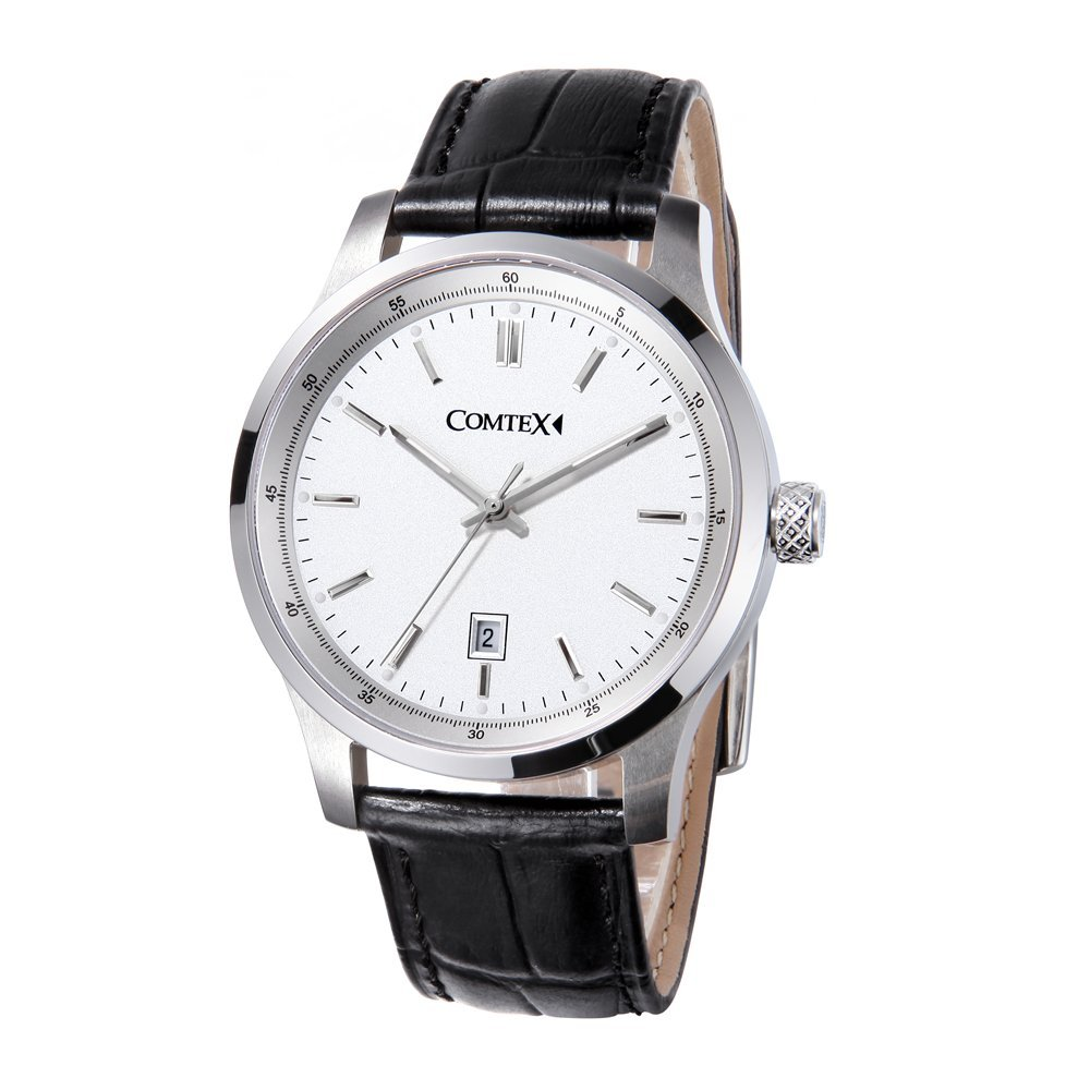 Comtex Men's Business Watches White Dial with Black Leather Strap Quartz Date Watches by Comtex