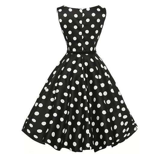 Vestidos Mujer Moda Verano 2018, Sonnena Damas Mujeres Vintage Bodycon sin Mangas Casual Retro Noche Fiesta Baile Swing Vestido Patrón de Negro-Blanco ...