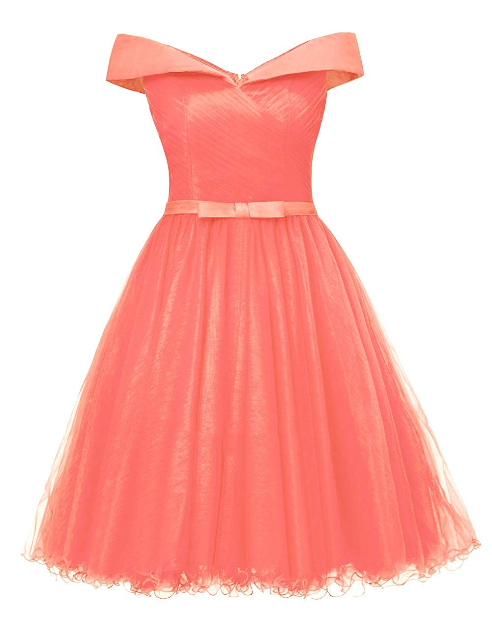 Coral Uther Off The Shoulder Prom Homecoming Dresses Knee Length Cocktail Dress Tulle Gown