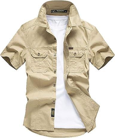 Camisa de manga corta para hombre de algodón puro de herramientas grande ropa de hombre: Amazon.es: Ropa y accesorios