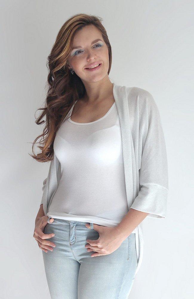 Silver Grey Shawl Kimono Sweater Cardigan, Silver Sweater, Street Kimono, Night Out Cardigan Special Occasion Sweater. ONE Size (S-XL)
