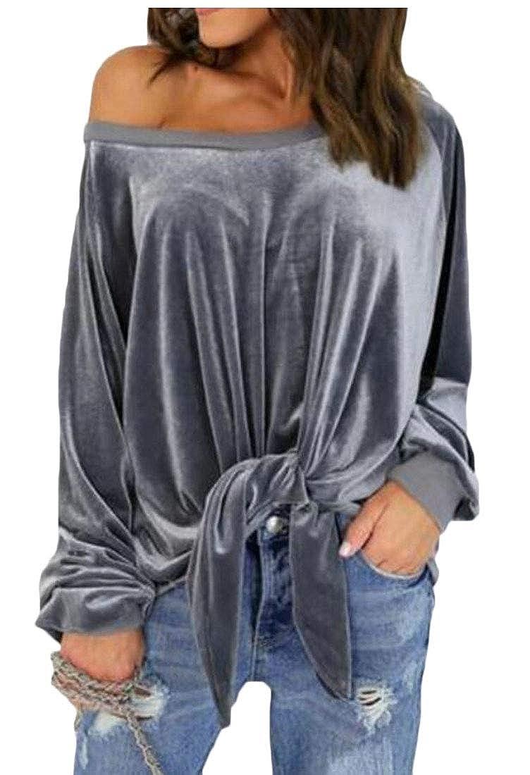 GenericWomen One Shoulder Velvet Solid Blouse Pullover Bandage Long Sleeve Top