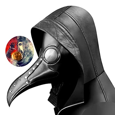 Norubvs Plague Doctor Mask Crow Mask Long Nose Bird Beak Steampunk Halloween Masquerade Party Cosplay Party Props (Style-1): Clothing