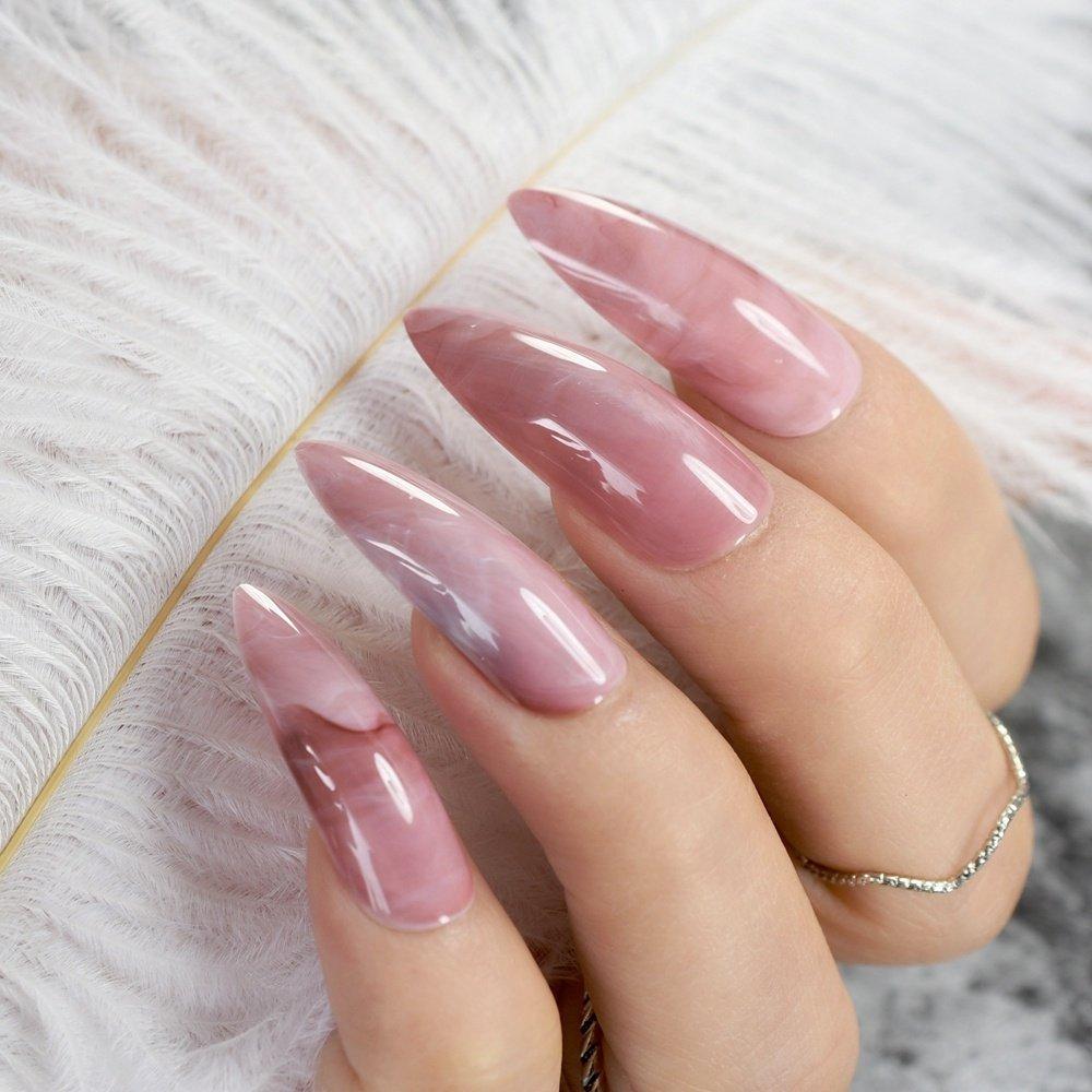 Amazon.com : Sharp Extra Long Artificial Nails Natural Marble Design ...
