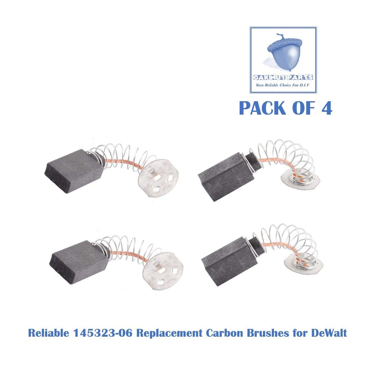 4PCS Reliable 145323-06 Carbon Brushes Replacement for DeWALT, Black & Decker 145323-06, 145323-03 & 145323-02- Fits for DW705 DW708 and Others (4 pcs/pack)